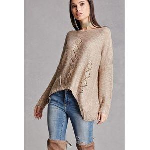 Open Knit Handkerchief Hem Sweater Top Boutique